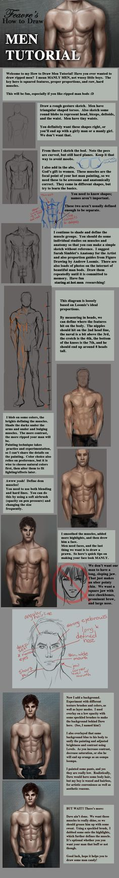 How to Draw Men - Man Tutorial - Anatomical Study - Male Body - Drawing Reference Drawing Skills, Drawing Techniques, Drawing Tips, Drawing Reference, Drawing Lessons, Painting & Drawing, Drawing Models, Pose Reference, Body Drawing