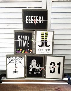 Halloween party ideas and decor for the minimalist. Halloween Wood Signs, Halloween Wood Crafts, Farmhouse Halloween, Diy Halloween Decorations, Fall Crafts, Halloween Crafts, Holiday Crafts, Halloween Table, Halloween Stuff