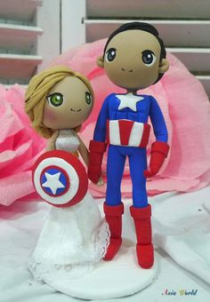 Wedding cake topper Captain America wedding clay doll, bride hold Shield clay figurine, engagement clay miniature, ring holder clay couple