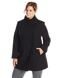 10df91c466a Larry Levine Womens PlusSize Wool Herringbone Coat Black 2X     Find out  more about