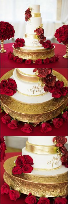 Gold-painted wedding cake, white fondant, red linens and roses, glamorous elegance, Beauty and the Beast wedding // Tangie Renee Photography