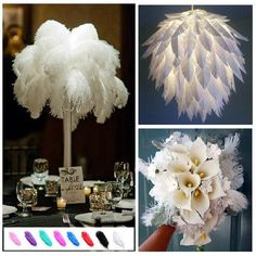 E, Ostrich Feathers 16 White Exquisite Home Party Decorations Wholesale Natu: Bid: Buynow Price Remaining 01 dia 07 hrs Feather Centerpieces, Wedding Centerpieces, Centrepieces, Great Gatsby Wedding, Dream Wedding, Party Wedding, Boho Wedding, Carnival Wedding, Gatsby Theme