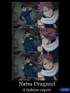Natsu Dragneel, Fairy Tail's fashion expert. (Such a Guy Sensei parallel from Naruto tho lol)