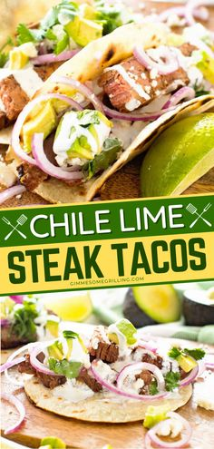 This Chile Lime Steak Taco is one summer grilling recipe you will not forget! It is a tender, juicy flank steak marinated in lime juice and rubbed with spices. Grilled to medium rare and sliced for these delicious corn tortillas! Make this for dinner or as easy appetizers for a party! Top Recipes, Steak Recipes, Easy Recipes, Easy Meals, Mexican Entrees, Mexican Food Recipes, Real Food Recipes, Mexican Party, Mexican Style
