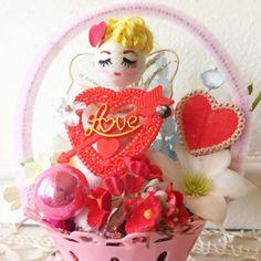 Vintage Valentine Kitsch Plastic Pink Basket  Red Heart Figurine Holiday Decor