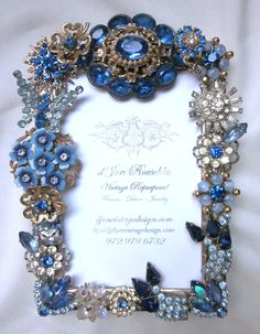 Gorgeous Vintage Rhinestone Jewelry Picture Frame Blue Brooches