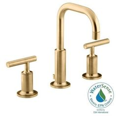 Widespread 2 Handle Mid Arc Water Saving Bathroom Faucet In Vibrant Modern Brushed Gold