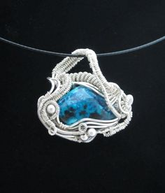 Pendant Necklace. Necklace for Women. Wire Wrapped Pendant with Chrysocolla in Sterling Silver, Small on Etsy, $125.00