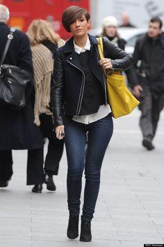 Frankie Sandford - like the jumper, shirt and biker jacket combo