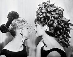 L: Black velvet chignon-cover with two ostrich-feather pompoms, 1965, R: Cascade of petals in black organza, 1965