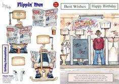 La Pashe Flippin Men A5 die cut decoupage & background - Peace - FoilPlay.co.uk