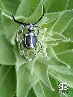 Brouk - cínovaný šperk - neznámý kámen z pole. Foceno na divizně.