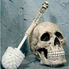 The Scour Skull Toilet Brush for pirate bathroom. cleaning the toilet just got a whole lot more fun. Gothic Bathroom Decor, Bathroom Niche, Mold In Bathroom, Nautical Bathrooms, Bathroom Toilets, Pirate Bathroom Decor, Bathroom Ideas, Bathroom Remodeling, Boys Bathroom Themes