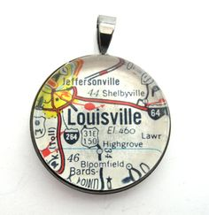 Road Map Pendant of Louisville Kentucky from by CarpeDiemHandmade, $10.00