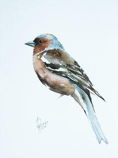 Andrzej Rabiega - Paintings for Sale Watercolor Bird, Watercolor Paintings, Watercolours, Chaffinch, Bird Artwork, Paper Tags, Paintings For Sale, Lovers Art, Pet Birds