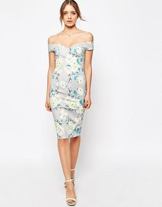 7d241f9db5 Bardot Off The Shoulder Hitchcock Pencil Dress In Gray And Lime Floral