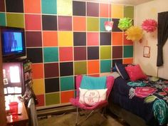 Scrapbook paper wall covering for college dorms and apartments. Score Score Score Score Becker This might be fitting for our living room? :) by diane. College Apartments, College Dorm Rooms, Cool Dorm Rooms, Dorm Life, College Life, Dormitory, Apartment Living, Living Room, Of Wallpaper