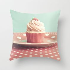 Pastel Blueberry Cupcake Throw Pillow by Andrea Caroline  - $20.00