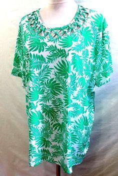 Southern Lady Women Plus Size 1X 2X 3X Green White Floral Tee T Shirt Top Blouse