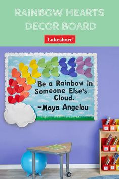spring bulletin board Get everything you need for a colorful rainbow bulletin board at your local Lakeshore Learning Store! Rainbow Bulletin Boards, Kindergarten Bulletin Boards, Summer Bulletin Boards, Teacher Bulletin Boards, Back To School Bulletin Boards, Classroom Board, Classroom Bulletin Boards, Kindness Bulletin Board, Classroom Wall Decor