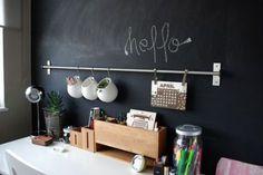 Decorare una parete con la pittura effetto lavagna esempi a