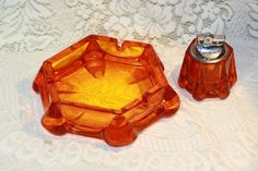 Viking Art Glass Ashtray Table Lighter Set Orange Yellow Glass Vintage Retro. Starting at $50
