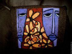 Купить валяная сумка - коричневый, рисунок, кубизм, сиреневый, фиолетовый, оранжевый, цветы, арт-сумка