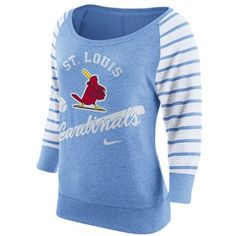 Nike Women's St. Louis Cardinals Coop Gym Vintage Crew Sweatshirt ($55) ❤ liked on Polyvore featuring lightblue and nike