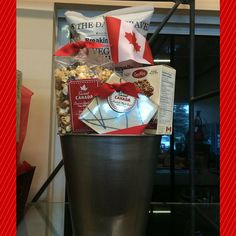 Beautifully Custom Made Gift Baskets for any occasion. Custom Made Gift, Customized Gifts, Happy Birthday Canada, Veggie Chips, Diy Crafts For Gifts, Spiced Apples, Canada Day, Care Packages, Gift Baskets