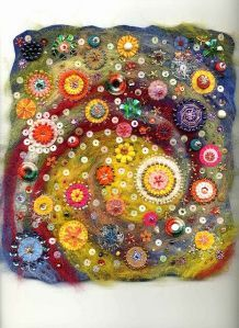 This concept of background and images would make a great folk art journal page wet felt and applique flowers give impression of the solar system and the universe through the eyes of a child in this interesting fiber, textile art tapestry , wall hanging Felt Embroidery, Felt Applique, Felt Pictures, Needle Felted, Nuno Felting, Button Crafts, Felt Art, Fabric Art, Fabric Crafts