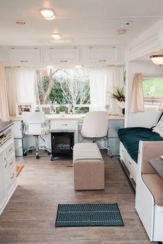 Great office space in Brittany & Jordan's Cozy, Modernized, DIY Cross-Country Camper