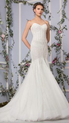 Embroidered Tulle Skirt Illusion Neckline Wedding Dress