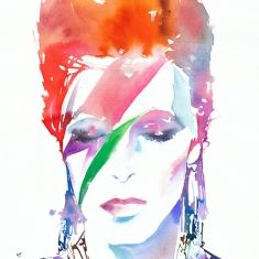 "Bowie by Cate Parr 15"" x 22"" Original Painting http://www.sdgallery.co.uk/artists/cate-parr/current-exhibition"