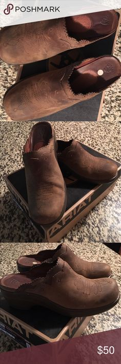 SHOES/MULES Very comfortable and only worn for a short time excellent condition!! They are made to look old and worn. Ariat Shoes Mules & Clogs