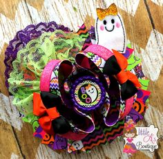 Boo bow Halloween bow Ghost bow Over the top by LittleAsBowtique