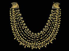 Gold necklace of Queen Ahhotep Broad collar necklace made of gold with semiprecious stones from the coffin of Queen Ahhotep,West Thebes, Eighteenth Dynasty, reign of Ahmose. Finding this beautiful collar of Queen Ahhotep, mother of King Ahmose was the catalyst for building the Egyptian Museum.