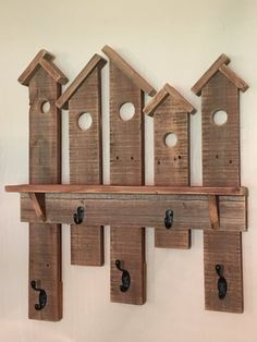 Birdhouse Coat Rack. Made from Reclaimed Fence by AaronsBirdhouses