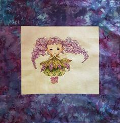 Wisteria Fairy counted cross-stitch pillowcase