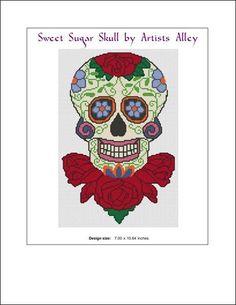 Sugar Skull on Roses pattern