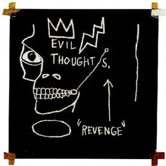 View Evil thoughts by Jean-Michel Basquiat on artnet. Browse upcoming and past auction lots by Jean-Michel Basquiat. Jean Michel Basquiat Art, Shirt Print Design, Posca, Neo Expressionism, Artist Art, Revenge, Art Pictures, Art Inspo, Pop Art