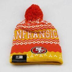 Mens   Womens San Francisco 49ers New Era NFL Sports Weather Advisory  Cuffed Knit Pom Pom Beanie Cap - Red   Gold a24c56665