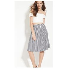 Beautiful striped midi skirt! Never worn! Forever 21 Skirts Midi