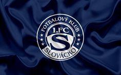 Lataa kuva FC Slovacko, football club, Uherske Hradiste, Tšekin Tasavalta, tunnus, Slovacko logo, sininen silkki lippu, Tšekin jalkapallon mestaruuden