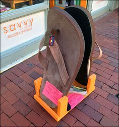 Rainbow Sandals®, producer of sandals a year, takes time to hand-craft these show-stopper display units as street-art sale for display along famous Laguna Beach. Rainbow Sandals, Laguna Beach, Art For Sale, Street Art, Retail, Display, Projects, Flip Flops, Crafts