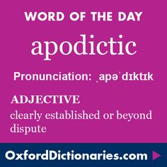 apodictic (adjective): Clearly established or beyond dispute. Word of the Day for 19 December 2015. #WOTD #WordoftheDay #apodictic