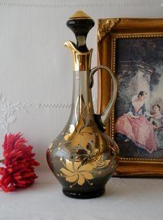 Vintage Bohemian Smocked Glass Decanter