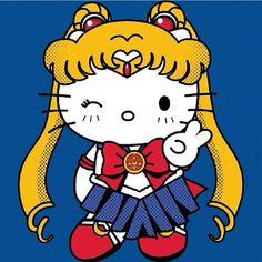 """Hello Sailor Moon"" by Rachael Thomas Everyone's favorite kitty plus everyone's favorite sailor scout wins all the internets! Hello Kitty Tattoos, Hello Kitty Art, Hello Kitty Themes, Sanrio Hello Kitty, Kitty Kitty, Sailor Moon, Hello Kitty Characters, Sanrio Characters, Sailor Scouts"