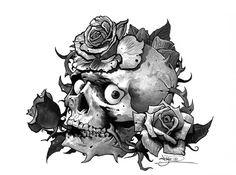 SKULLS - Tattoo flash - skull and roses by ~tikos on deviantART