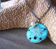 SALE 25 OFF   Necklace Round Sand Dollar Pendant by floria on Etsy, $14.90