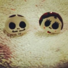DiY Mr. and Mrs.  Skully Dia De Los Muertos Day Of The Dead Clay Earrings